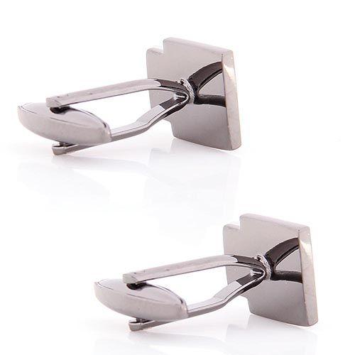 Запонки Jewels прямоугольные со вставкой серебристого цвета, фото