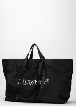 Черный шоппер Off-White с брендовым принтом, фото