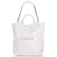 Лаковая сумка-шоппер Ermanno Ermanno Scervino Elin белого цвета, фото