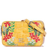 Желтая маленькая сумка Ermanno Ermanno Scervino Elsida с цветочным принтом, фото