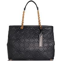 Большая сумка-шоппер Ermanno Ermanno Scervino Federica из кожи черного цвета, фото