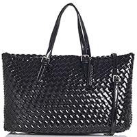 Лаковая сумка-шоппер Ermanno Ermanno Scervino Felice из плетеной эко-кожи, фото