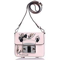Розовая сумка Cromia Flory из кожи Сафьяно с флористической вышивкой, фото