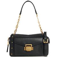 Маленькая черная сумка Cromia Ginger с золотистой фурнитурой, фото