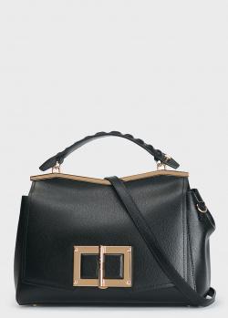 Черная сумка Cromia Gemma с рельефной ручкой, фото