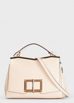 Бежевая сумка Cromia Gemma с металлической планкой, фото