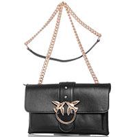 Черная сумка Pinko на плечевом ремне-цепочке, фото