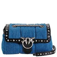 Джинсовая сумка Pinko Love с декором-заклепками, фото