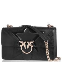 Черная сумка флеп-бег Pinko Love Classic Rockstar Bag с брендовым лого, фото