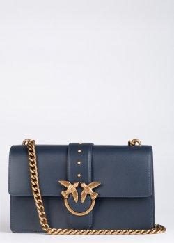 Темно-синяя сумка Pinko Love Classic Icon Simply из мягкой кожи, фото