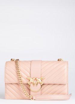 Стеганая сумка Pinko Love Classic Icon V Quilt розового цвета, фото