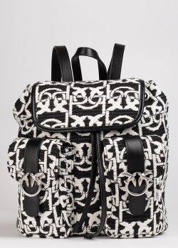 Черно-белый рюкзак Pinko Mini Love Backpack Monogram с логотипом, фото
