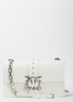 Белая сумка Pinko Love Classic Icon Simply с фирменным декором, фото