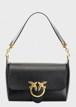 Черная сумка Pinko Love Bag Simply с декором на клапане, фото