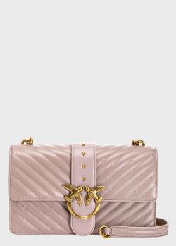 Розовая сумка Pinko Love Bag Icon V Quilt с геометрической стежкой, фото