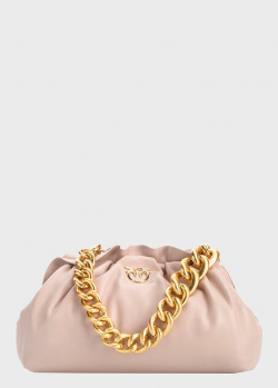 Розовый клатч Pinko Mini Chain Framed с объемной цепочкой, фото