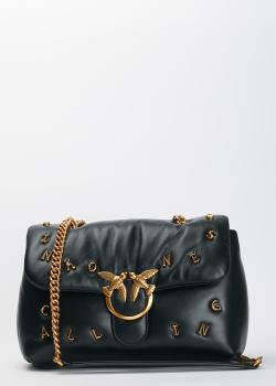 Черная сумка Pinko Lovelink Classic Puff с брендовым декором, фото