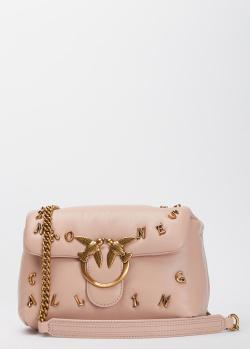 Бежевая сумка Pinko Mini Love Bag Puff с декором-буквами, фото