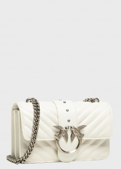 Стеганая сумка Pinko Love Mini Icon V Quilt белого цвета, фото
