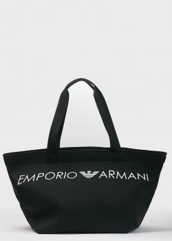 Черный шоппер Emporio Armani с брендовым принтом, фото
