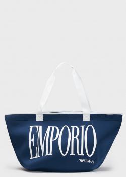 Сумка-шоппер Emporio Armani синего цвета, фото