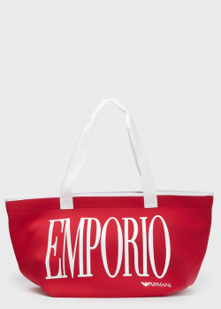 Красная сумка Emporio Armani с крупным логотипом, фото