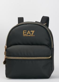 Черный рюкзак EA7 Emporio Armani с карманом на молнии, фото
