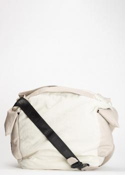 Бежевая сумка Vic Matie с накладными карманами и черным ремнем, фото