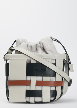 Белая сумка Vic Matie с переплетенными ремешками, фото
