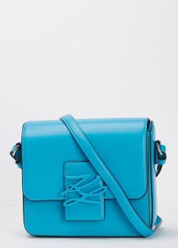 Голубая сумка Karl Lagerfeld из гладкой кожи, фото