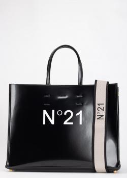 Черная сумка-шоппер N21 со съемным ремнем, фото