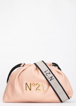 Бежевая сумка-мешок N21 Eva с металлическим лого, фото