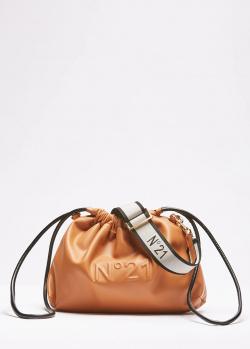 Коричневая сумка-мешок N21 с логотипом, фото