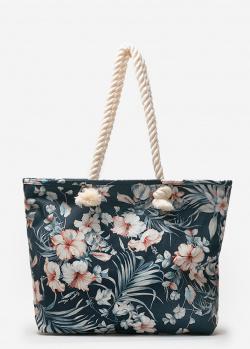 Текстильная сумка-шоппер Emporio Armani с цветочным принтом, фото