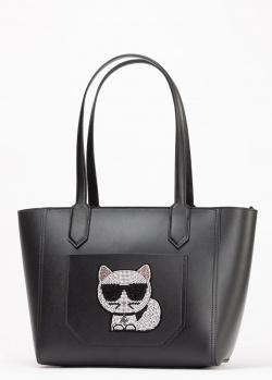 Черная сумка-тоут Karl Lagerfeld с котом, фото