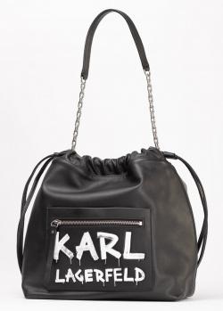 Черная сумка Karl Lagerfeld с надписью, фото