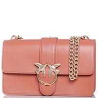 Коричневая сумка Pinko с золотистыми птицами на клапане, фото
