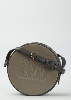Круглая сумка кросс-боди Max Mara из кожи и замши, фото