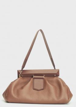 Коричневая сумка-клатч Max Mara из натуральной кожи, фото