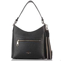Черная сумка-хобо Lancaster Foulonne Double из гладкой кожи, фото
