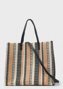 Плетенная сумка-шоппер Genhill в полоску, фото
