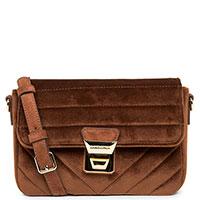 Бархатная сумка Lancaster Actual Velvet коричневого цвета, фото