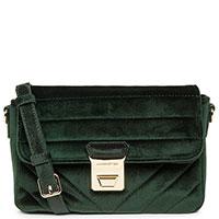 Стеганая сумка Lancaster Actual Velvet темно-зеленого цвета, фото