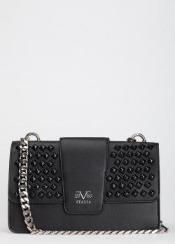 Клатч черного цвета 19V69 Italia с декором на клапане, фото