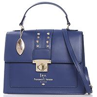 Синяя деловая сумка Francesca E.Versace со съемным ремнем, фото