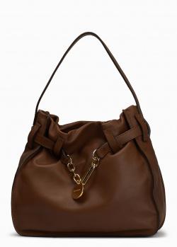 Коричневая сумка-хобо Sonia Rykiel из гладкой кожи, фото