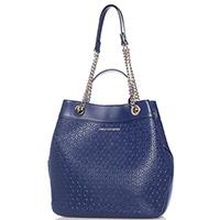 Синяя сумка Di Gregorio с цветочным тиснением, фото