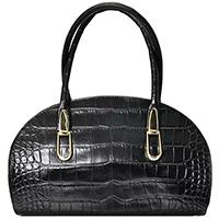 Черная сумка Ripani с тиснением под кожу крокодила, фото