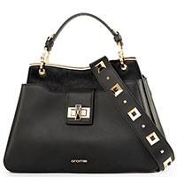 Черная сумка Cromia Glossy на широком ремне, фото