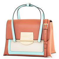 Коричневая сумка Cromia Romy с голубыми вставками, фото